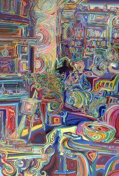 "moms, acrylic & inks on birch panel, 24"" x 36"""