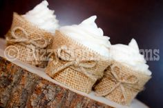 Real Burlap and Twine cupcake wrapper  lace by BizzyMomsCreations