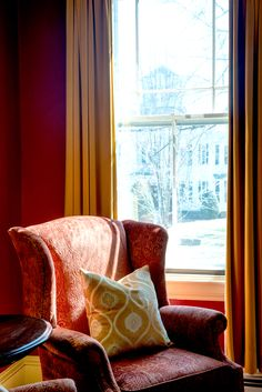Comfortable reading chair next to the window for light. This window has an insert so there's no distracting noise and the light is just perfect. Window Inserts, Reading Nook, Wingback Chair, Accent Chairs, Indoor, Couch, Curtains, Furniture, Home Decor