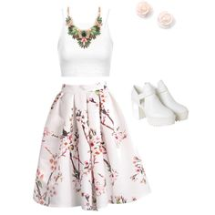 Garden flower by jazimakeup9 on Polyvore featuring Topshop and Monki