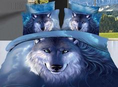 3D Blue Wolf Design100% Cotton Bedding Sets Animal Print Bedding- ericdress.com 10831815