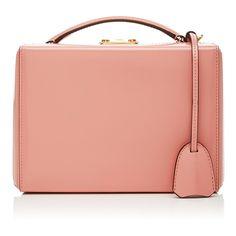 Mark Cross     Grace Small Box  Bag (62 745 UAH) ❤ liked on Polyvore featuring bags, handbags, burgundy, leather purses, leather handbags, burgundy leather purse, red handbags and kiss-lock handbags
