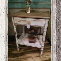NEW night stand/end table distressed white and stained. $44.99 #cherisheverymoment #homedecor #upcycling
