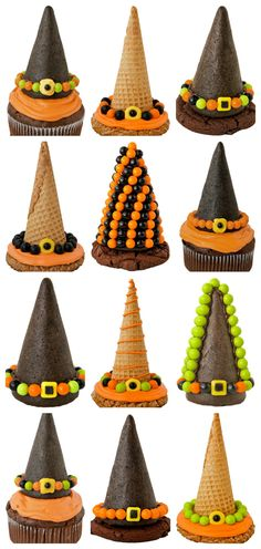 Witch Waffle Cone Hats for Cupcakes + Cookies! | #fall #autumn #halloween #treats