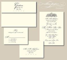 Classic Wedding Invitation  Danielle by EllasPaper on Etsy, $3.70