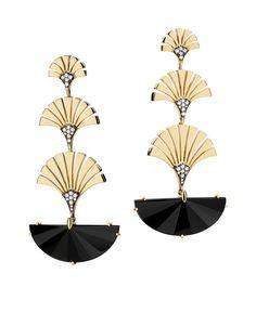 Josephine earrings - Maxior S/S 2016 - Gold, onix and diamonds #Maxior #jewelry #earrings #gemstones #design #RodrigoRobson