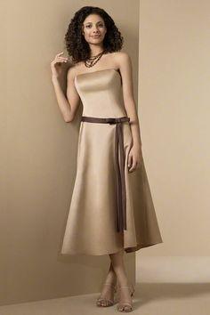 a5e8b28f7 Champagne Strapless Ribbon Satin Junior Bridesmaid Dress Tea Length Bridesmaid  Dresses, Discount Bridesmaid Dresses,