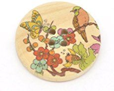 Pack of 10 Bird Tree Butterfly Flower Print Patterns, 4 Holes Round Wooden Buttons, for Sewing, Scrapbooking, Embelishments, Crafts, Jewellery making, shabby chic, Knitting, 30mm