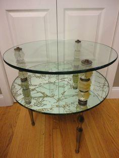 Shhhh HOLLYWOOD REGENCY BRASS 2 TIER GLASS SHELF VANITY TABLE W ...