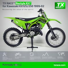 TX RACE™ Restyle Plastic Kit® for Kawasaki KX125/250 1999 2000 2001 2002 is an update and modernization of the aesthetic line of this 2-Stroke model of Kawasaki [KX] Motocross/Enduro. TX RACE™ offers an attractive solution that is easily assembled, and no chassis modification is necessary. The TX RACE™ Restyle Plastic Kit® notably enhances the appearance of your motorcycle, more than compensating for the cost of the kit. Kawasaki Kx 250, Kawasaki Dirt Bikes, Motocross Bikes, Dirtbikes, Wheels, Racing, Motorcycle, Plastic, Ads