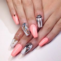 It is believed that dream catcher has some magical powers. It looks mysterious and bewitching. That is why in case you decide to give this beautiful nail a try we suggest you pay attention to the trendiest ideas that we have gathered here for you! #nails #nailart #naildesign