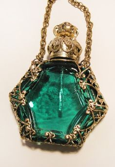 Antique Vintage Miniature Czech Perfume Scent Bottle, Green glass with Bronze fittings.