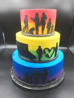 Wedding Cake. Silhouette Wedding Cake. Personalized Wedding Cake. LGBTQ Wedding Cake. Wedding Trends. Wedding Plans. Rainbow Wedding Cake. Silhouette Cake. Rainbow Cake. Wedding Wire. The Knot.