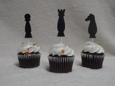 Chess Pieces Cupcake Toppers by WillowBlueDesigns on Etsy, $7.00 Chess Party, Chess Birthday Party