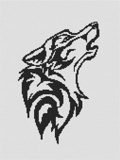 cross stitch wolves | easy_stitch_wolf_silhouette_cross_stitch_pattern_email_delivery_w115 ...