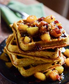 This pumpkin spice waffles with butternut bacon syrup recipe is heavenly delicious.They are fluffy but a bit crisp on the outside and full of autumn flavor. The whole syrup idea still completely throws me for a loop because the flavor combination is explosive.