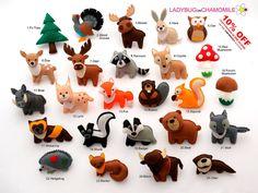 FOREST Animals, WOODLAND animals felt magnets - Price per 1 item - make your own set - Fox,Wolf,Deer,Owl,Moose,Bear,Squirrel,Raccoon,Badger