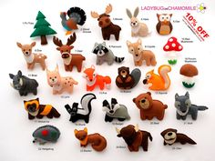 FOREST Animals WOODLAND animals felt magnets by LadybugOnChamomile