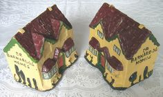 """Dr Barnardo's Homes"" vintage papier-mache cottage money / collecting boxes x 2 (c.1930s-50s) (SOLD) - www.vanishederas.com"