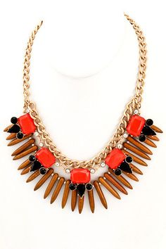 The Rendezvous Statement Necklace - Brown + Orange - $30.00   Daily Chic Accessories   International Shipping