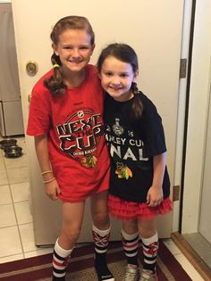 These little fans are trying out their new Stanley Cup gear! #Blackhawks