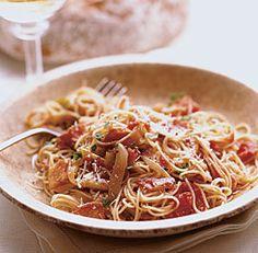 Lidia Bastianich's Capellini Capricciosi (Spicy Capellini) Cut recipe: 1 onion, used prepped bacon, added basil, oragano, and chopped garlic to sauce and half a box of pasta. Lidia's Recipes, Pasta Recipes, Italian Recipes, Recipe Pasta, Noodle Recipes, Drink Recipes, Lidia Bastianich, Lidias Italy Recipes, Cut Recipe
