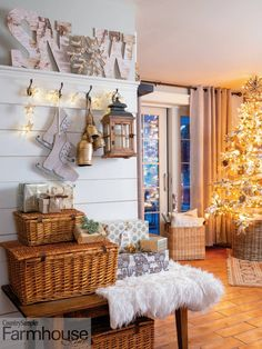 """You've Been Tipped>> To make your own sign like the """"Snow"""" one is this photo, cover cardboard letters with birch-print paper and use a large snowflake or wreath for the letter """"O"""". To see more of this great house, check out the """"Cabin Fever"""" article in our Holiday 2020 issue! Photographed by Gridley + Graves Photographers Farmhouse Christmas Decor, Country Christmas, Christmas Diy, Christmas Decorations, Table Decorations, Make Your Own Sign, Cardboard Letters, Farmhouse Style, Ladder Decor"""