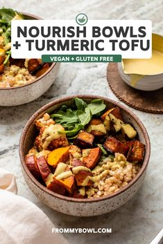 These vegan Nourish Bowls with Maple Turmeric Tofu radiate cozy vibes! Fresh greens, fluffy rice, crisp tofu, & roasted veggies get drizzled in a creamy dressing. Add this gluten-free meal to your fall meal planning on repeat! Vegan Bowl Recipes, Gluten Free Recipes For Breakfast, Veggie Recipes, Healthy Dinner Recipes, Fall Recipes, Vegan Meal Prep, Vegetarian Cooking, Vegetarian Recipes, Easy Vegan Dinner