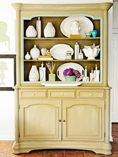 Colorful Painted Furniture - Want to try this with our dining room buffet. Paint Furniture, Furniture Makeover, Modern Furniture, Hutch Furniture, Antique Furniture, Home Interior, Interior Design, Home Projects, Weekend Projects