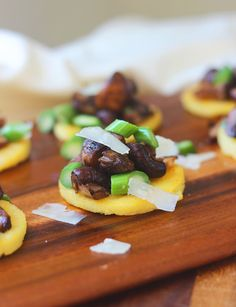 Polenta Bites with Sherried Mushrooms, Asparagus and Parmesan. A quick, easy and ridiculously elegant appetizer for all those holiday cocktail parties!!