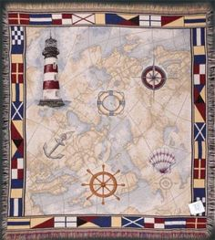"""Nautical Theme Lighthouse Map Anchor Flags Tapestry Throw Blanket 50"""""""" x 60"""""""" 