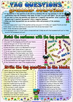 Tag Questions ESL Printable Worksheets and Exercises Grammar Exercises, English Exercises, Grammar Worksheets, Printable Worksheets, English Grammar Questions, English Homework, Tag Question, Rules For Kids, Sentence Structure