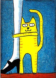 'i love my human' e9Art ACEO Cat Original One-of-a-Kind Miniature Folk Art OOAK…