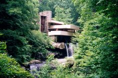 Classic view from path near lookout, 2  (Kaufmann house above waterfall, Frank Lloyd Wright, architect)