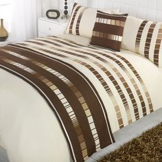 Madison Trinity Chocolate  Cream Patterned Bed in a  Bag Duvet Quilt Cover B... #Madison