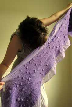 This is felted? Wow! Plum Nuno Felted Scarf by HandiCraftKate by HandiCraftKate, via Flickr
