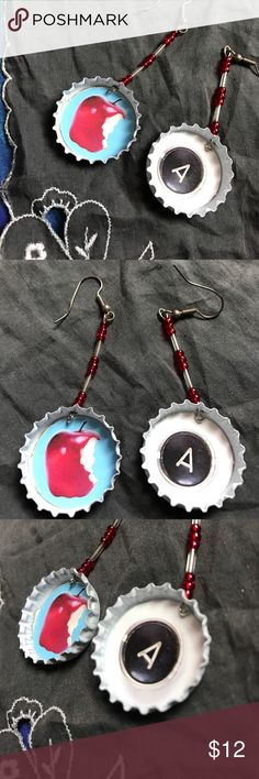 A is For Apple Teacher Bottle Cap Earrings Artsy Handmade by me. Hand eased with red and clear beading. I drilled the holes in the caps, cleaned and spray painted white. Apple and A typewriter initial images. Not used. Designed for fun! Unique. Reach and teach. Gift. Kindergarten. Elementary. Claire's Jewelry Earrings