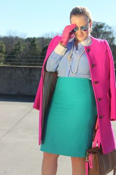 A bright fushcia coat with a bright ensemble.  Embrace the colors