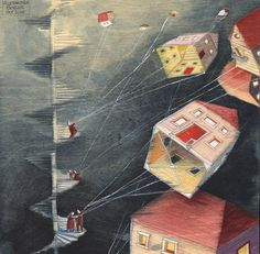 :: Sweet Illustrated Storytime ::  Illustration by Alexandra Boiger :: houses flying away