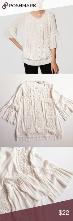 LOFT Lacy Bell Sleeve Blouse In prefect condition. Beautiful detail on the front and the bell sleeves are adorable. LOFT Tops Blouses