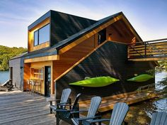 Designed by Toronto-based Altius Architecture, this upstate New York residence is meant as a tranquil getaway for its owners. Complete with a two-stall boathouse, built-in Kayak racks, and other storage for water sports equipment, the house is built fully around the concept of lake living, and is actually a floating dwelling itself. docks and deck in and around the building provide plenty of recreational space. As an isolated vacation home, this floating lake house is hard to beat.