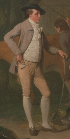 "1782. Detail of ""Widow Costard's cow and goods, distrained for taxes, are redeemed by the generosity of Johnny Pearmain.""  By Edward Penny.  18th century men's clothing. Pants, trousers, pocket, purse, wallet."