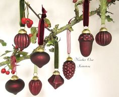 Mercury glass baubles, ruby red boxed set of 8 with velvet and organza ribbons. Organza Ribbon, Cotton Velvet, Mercury Glass, Jewel Tones, Ruby Red, Ribbons, Wind Chimes, Clear Glass, Delicate