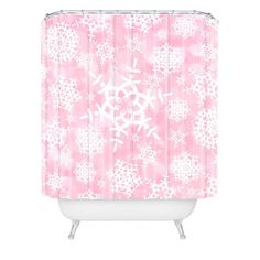 $89  Lisa Argyropoulos Snow Flurries in Pink Shower Curtain