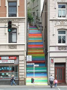 Rainbow stairs painted by German artist Horst Glasker.