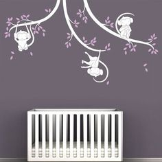 LittleLion Studio Monkey Tree Branches Wall Decal Color: Marmoset