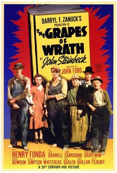 The Grapes of Wrath is a 1940 drama film directed by John Ford. The film tells the story of the Joads, an Oklahoma family, who, after losing their farm during the Great Depression in the become migrant workers and end up in California. Old Movie Posters, Classic Movie Posters, Classic Movies, Old Movies, Great Movies, 1960s Movies, Die Wilde 13, Film Mythique, Dramas