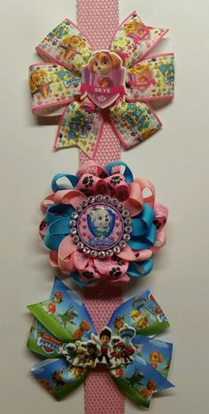 Mixe Lot 6 Paw Patrol Inspired Hair Bows/ Boutique Grosgrain Ribbon 2 each  #PawPatrol