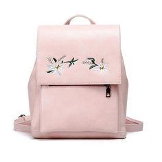 Women Floral Backpack Flower Embroidery Backpacks Blue Pu Leather Bag Teenage Girls School Bags Vintage Solid Mochila Xa1040H