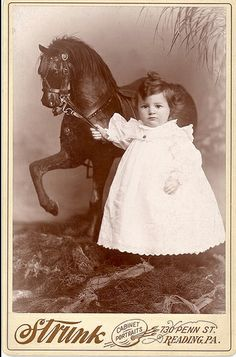 ~+~+~ Antique Photograph ~+~+~ Toddler named Paul and a beautifully, realistic toy horse. c. 1890.